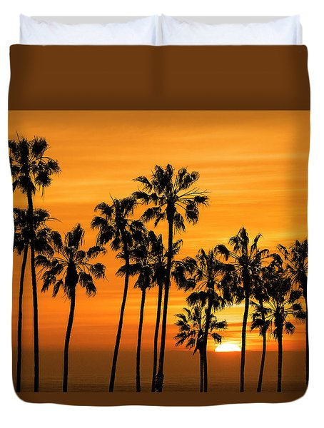 Duvet Cover featuring the photograph Palm Trees At Sunset By Cabrillo Beach by Randall Nyhof