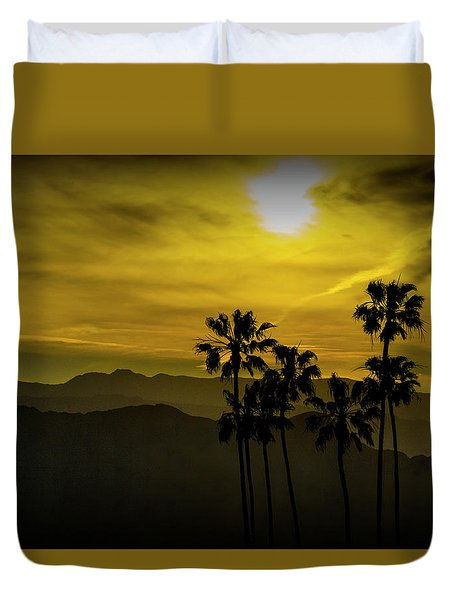 Duvet Cover featuring the photograph Palm Trees At Sunset With Mountains In California by Randall Nyhof