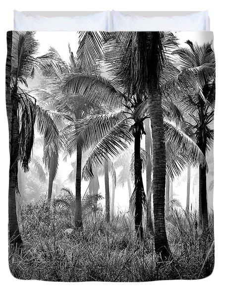 Palm Trees - Black And White Duvet Cover