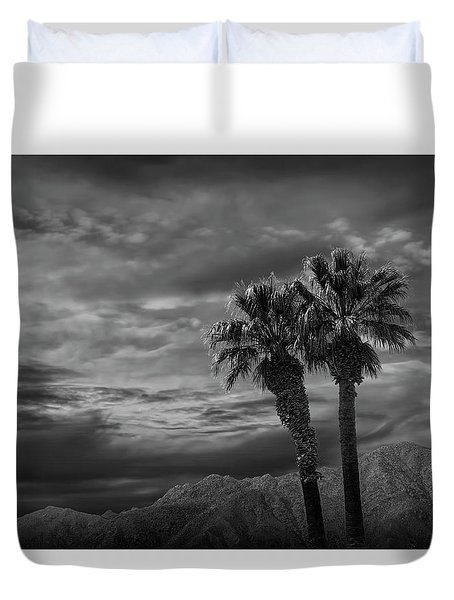 Duvet Cover featuring the photograph Palm Trees By Borrego Springs In Black And White by Randall Nyhof