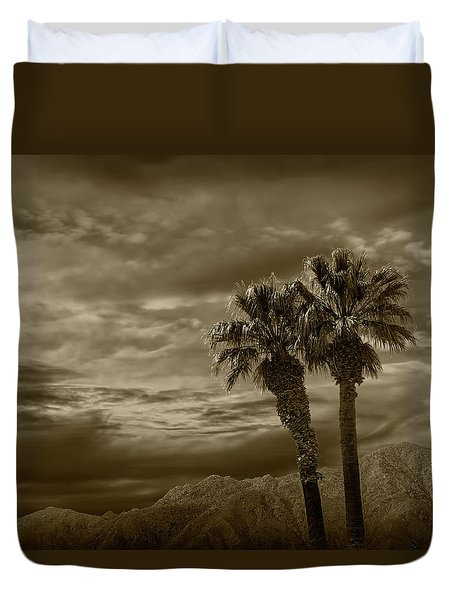 Duvet Cover featuring the photograph Palm Trees By Borrego Springs In Sepia Tone by Randall Nyhof