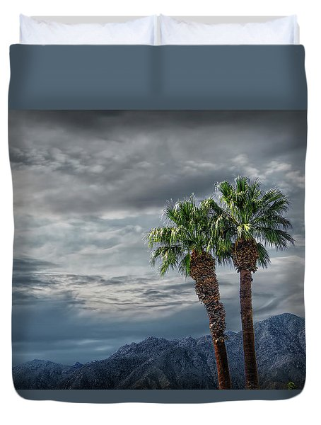 Duvet Cover featuring the photograph Palm Trees By Borrego Springs In The Anza-borrego Desert State Park by Randall Nyhof