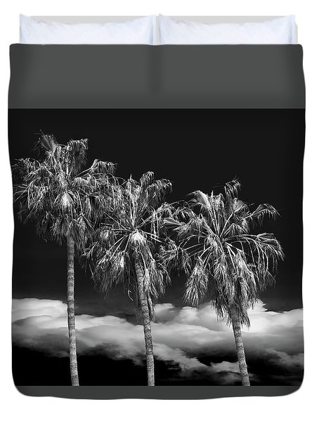 Duvet Cover featuring the photograph Palm Trees In Black And White On Cabrillo Beach by Randall Nyhof