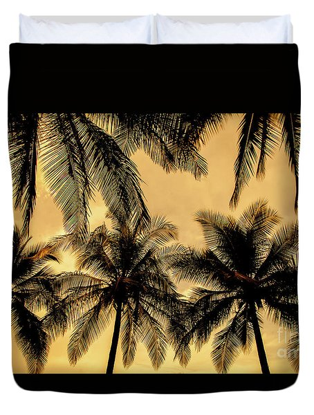 Palm Trees In Sunset Duvet Cover by Iris Greenwell