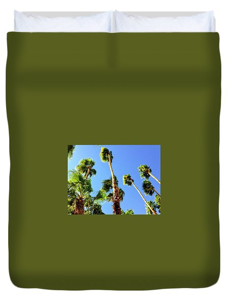 Palm Trees Looking Up Duvet Cover