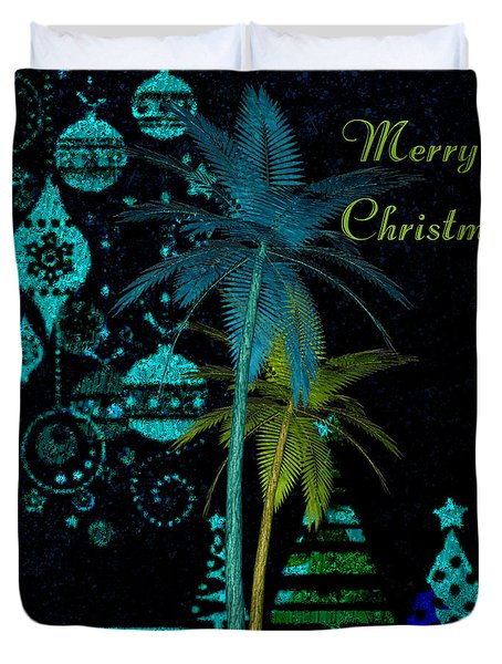 Palm Trees Merry Christmas Duvet Cover