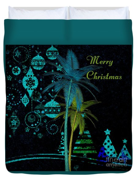 Duvet Cover featuring the digital art Palm Trees Merry Christmas by Megan Dirsa-DuBois