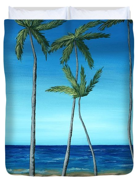 Duvet Cover featuring the painting Palm Trees On Blue by Anastasiya Malakhova