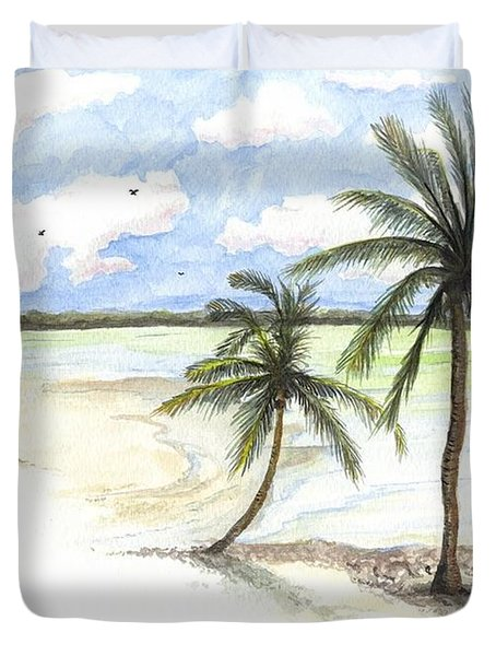 Palm Trees On The Beach Duvet Cover by Darren Cannell