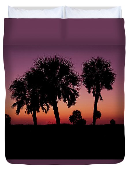 Duvet Cover featuring the photograph Palm Trees Silhouette by Joel Witmeyer