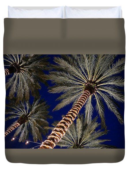 Palm Trees Wrapped In Lights Duvet Cover