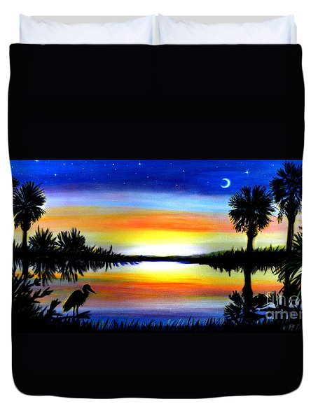 Palmetto Moon Low Country Sunset II Duvet Cover by Patricia L Davidson
