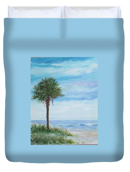 Sold  Palmetto On The Beach Duvet Cover by Gloria Turner