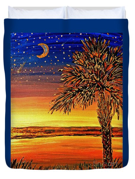 Palmetto Sunset  Duvet Cover by Patricia L Davidson