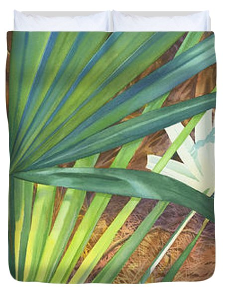 Palmettos And Stellars Blue Duvet Cover by Marguerite Chadwick-Juner
