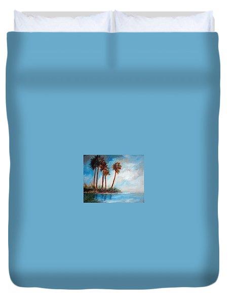 Palmettos On A Beach Duvet Cover