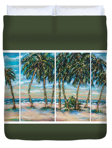 Duvet Cover featuring the painting Palms Along The Shore by Linda Olsen