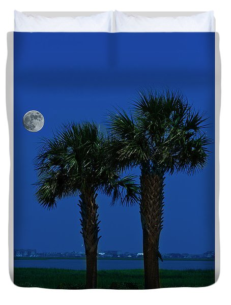 Palms And Moon At Morse Park Duvet Cover by Bill Barber
