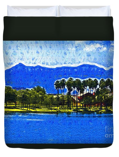Palms And Mountains Duvet Cover