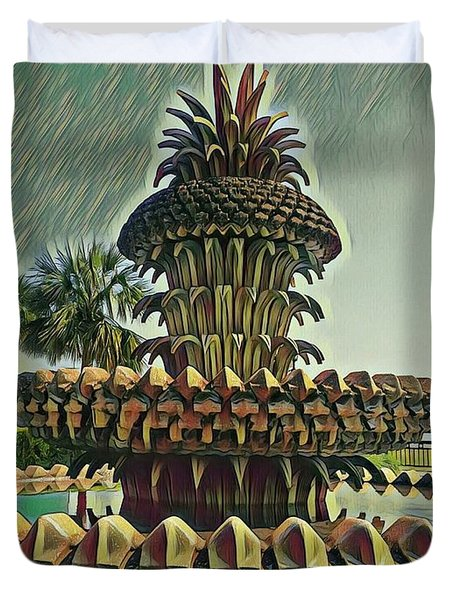 Palms And Pineapples Duvet Cover