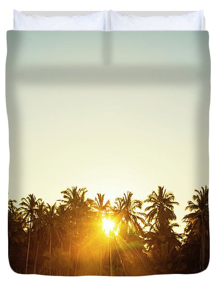 Palms And Rays Duvet Cover