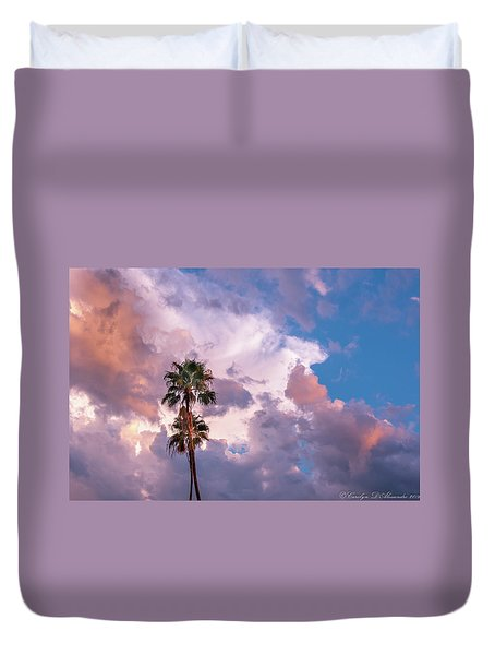 Palms At Sunset Duvet Cover by Carolyn Dalessandro
