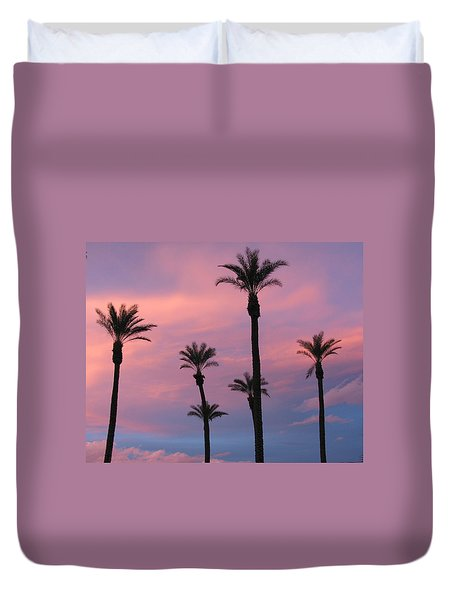 Duvet Cover featuring the photograph Palms At Sunset by Phyllis Kaltenbach
