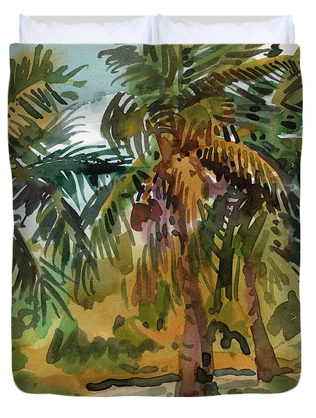 Palms In Key West Duvet Cover by Donald Maier
