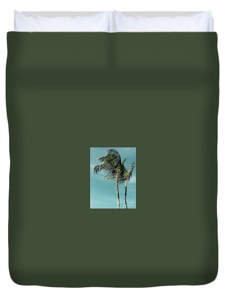 Palms In The Wind Duvet Cover