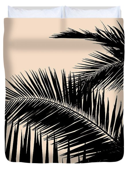 Palms On Pale Pink Duvet Cover