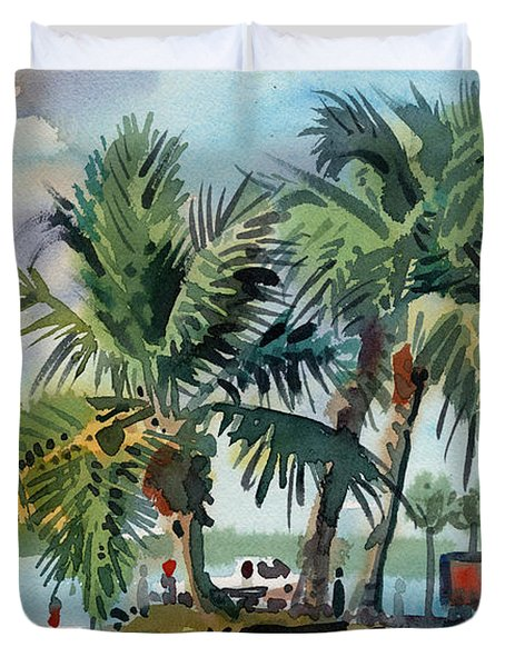 Duvet Cover featuring the painting Palms On Sanibel by Donald Maier