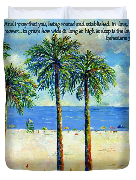 Duvet Cover featuring the painting Palms On Siesta Beach With Scripture by Lou Ann Bagnall