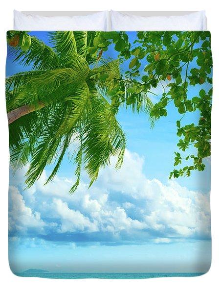 Palmtree On The Beach Duvet Cover