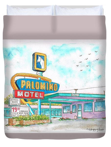 Palomino Motel In Route 66, Tucumcari, New Mexico Duvet Cover