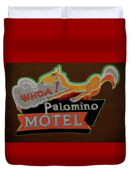 Duvet Cover featuring the photograph Palomino Motel by Jeff Burgess