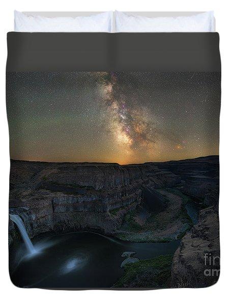 Palouse Falls Milky Way Galaxy  Duvet Cover