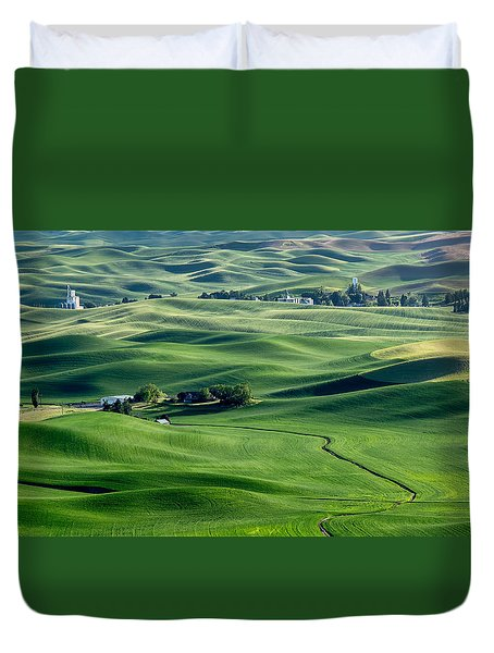 Palouse Wheat Farming Duvet Cover