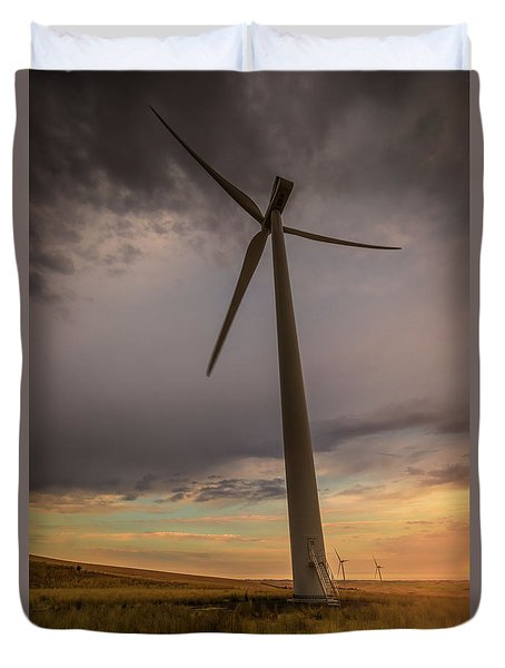 Palouse Windmill At Sunrise Duvet Cover by Chris McKenna