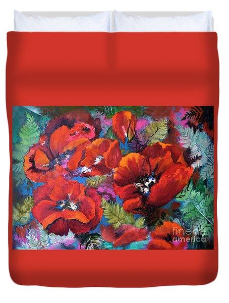 Pamela's Poppies Duvet Cover