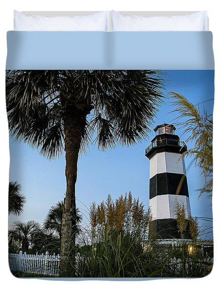 Pampas Grass, Palms And Lighthouse Duvet Cover