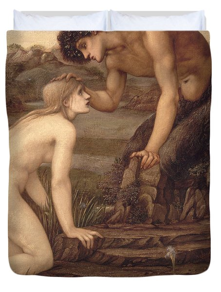 Pan And Psyche Duvet Cover by Sir Edward Burne-Jones