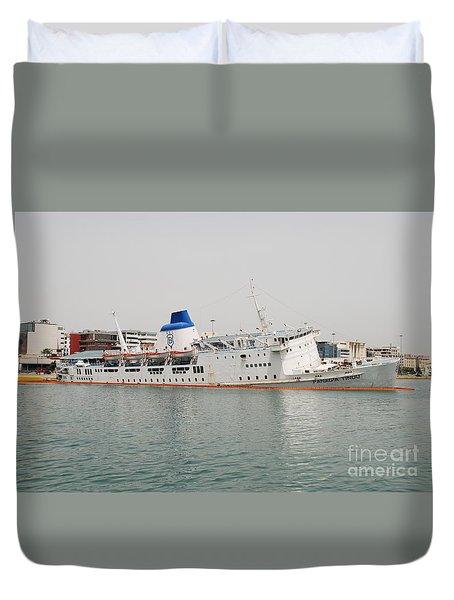 Panagia Tinou Ferry Sinking In Athens Duvet Cover