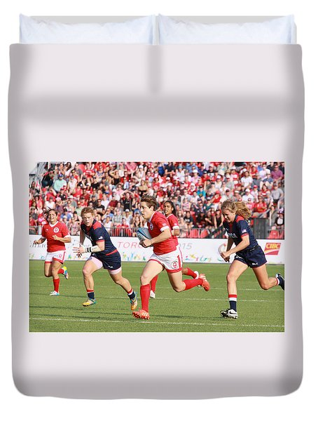 Panam Games. Womens' Rugby 7's Duvet Cover