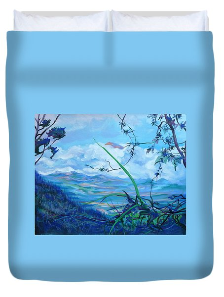 Duvet Cover featuring the painting Panama. Anton Valley by Anna  Duyunova
