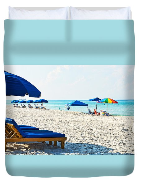 Panama City Beach Florida With Beach Chairs And Umbrellas Duvet Cover