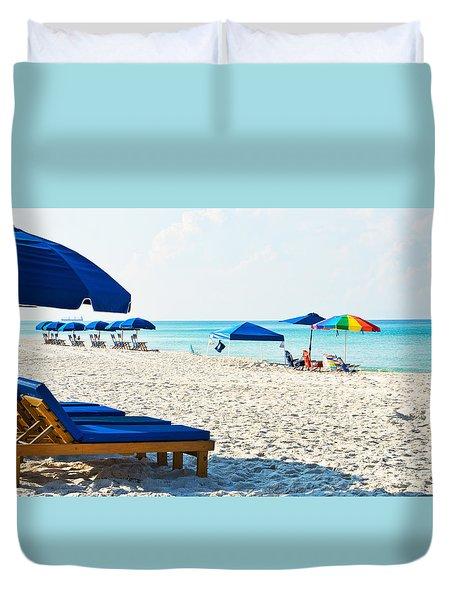 Panama City Beach Florida With Beach Chairs And Umbrellas Duvet Cover by Vizual Studio