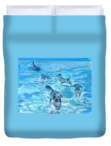 Duvet Cover featuring the painting Panama. Salted Dogs by Anna  Duyunova