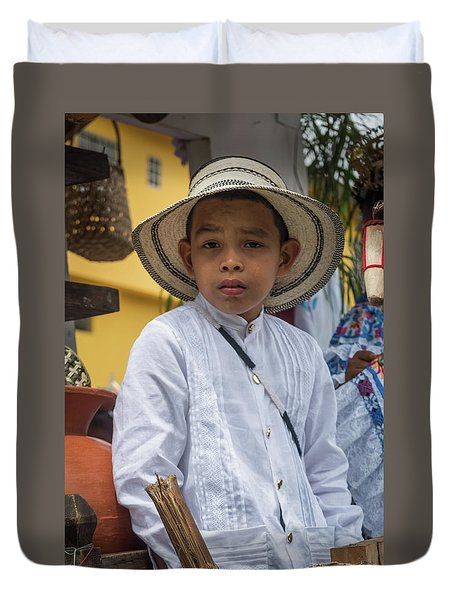 Panamanian Boy On Float In Parade Duvet Cover