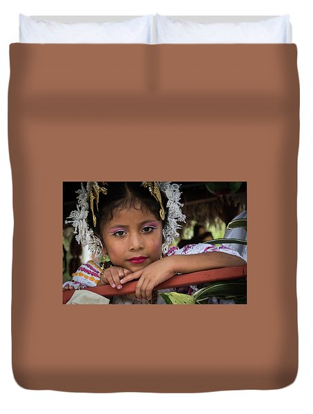 Panamanian Girl On Float In Parade Duvet Cover