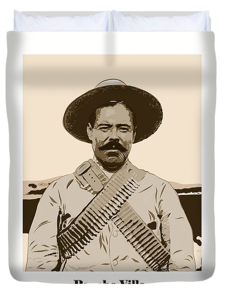 Duvet Cover featuring the digital art Pancho Villa by Antonio Romero